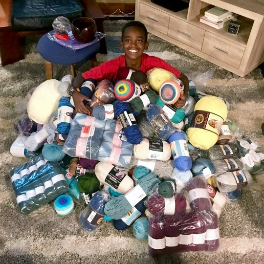 PIC FROM Caters News - (PICTURED:Jonah Larson,11, from La Crosse, Wisconsin has become an online sensation after showing off his incredible crochet skills) - An incredible 11-year-old crochet whizz has become an unlikely online sensation showing off his incredible skills. Jonah Larson, from La Crosse, Wisconsin, is so good at crocheting that in only a month hes received over 4000 orders from all around the world.Videos of Jonahs hooks moving at a mesmerising speed have captured attention on social media, with him garnering more than 150,000 followers.SEE CATERS COPY