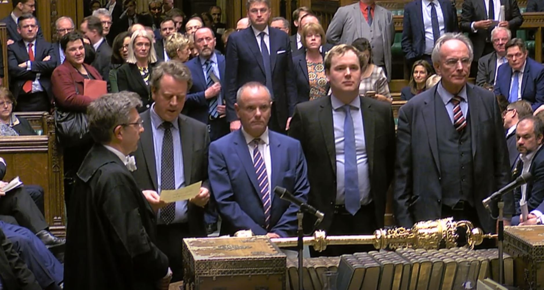 MPs announcing the result of the Brexit vote on Thursday, where the motion to allow the Prime Minister to request a one-off extension ending June 30 was passed by 412 votes to 202. PRESS ASSOCIATION Photo. Picture date: Thursday March 14, 2019. See PA story POLITICS Brexit. Photo credit should read: House of Commons/PA Wire