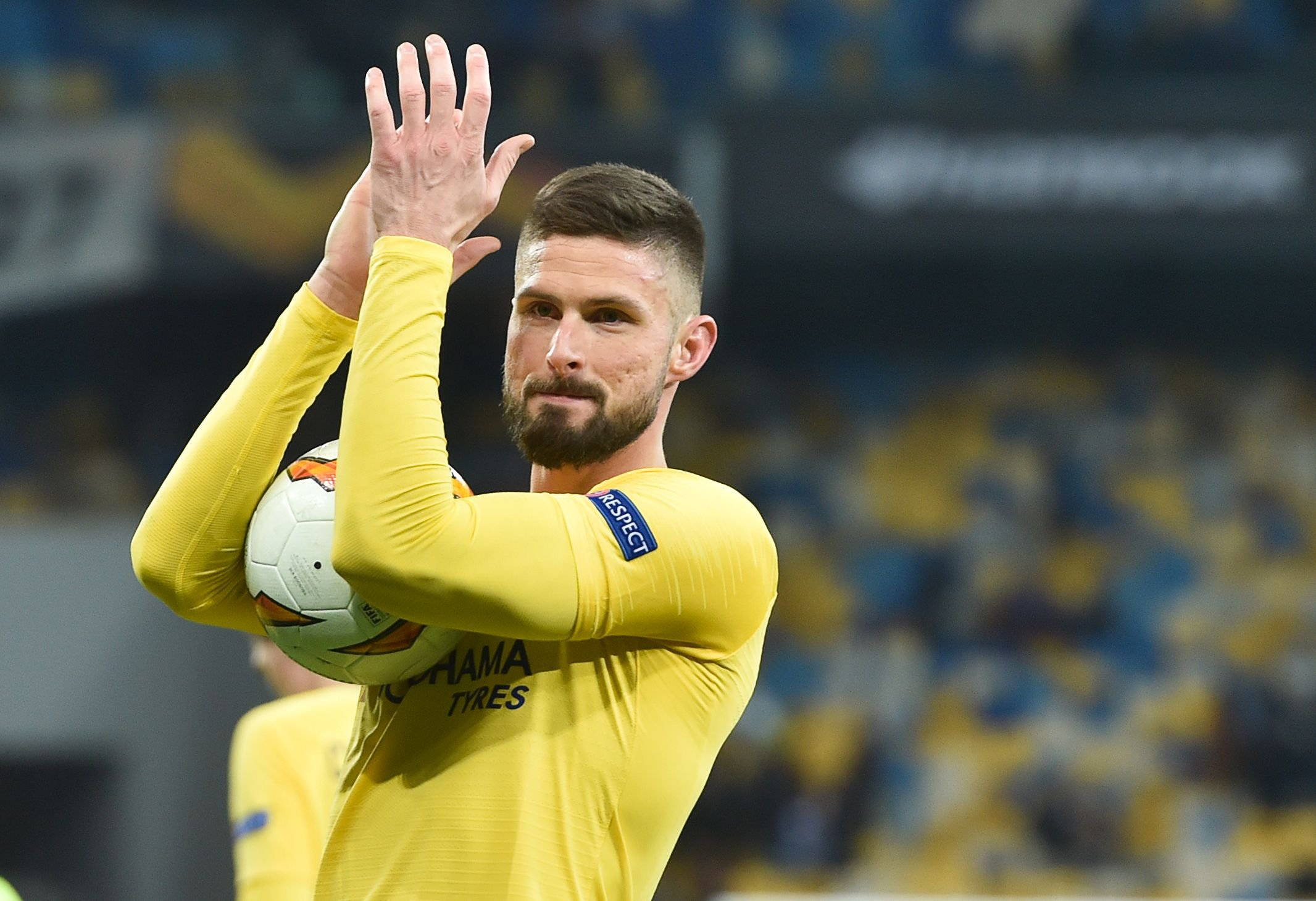 Chelsea's French forward Olivier Giroud celebrates after the UEFA Europa League round of 16, second leg football match between FC Dynamo Kyiv and Chelsea FC at NSK Olimpiyskyi stadium in Kiev on March 14, 2019. (Photo by Sergei SUPINSKY / AFP)SERGEI SUPINSKY/AFP/Getty Images