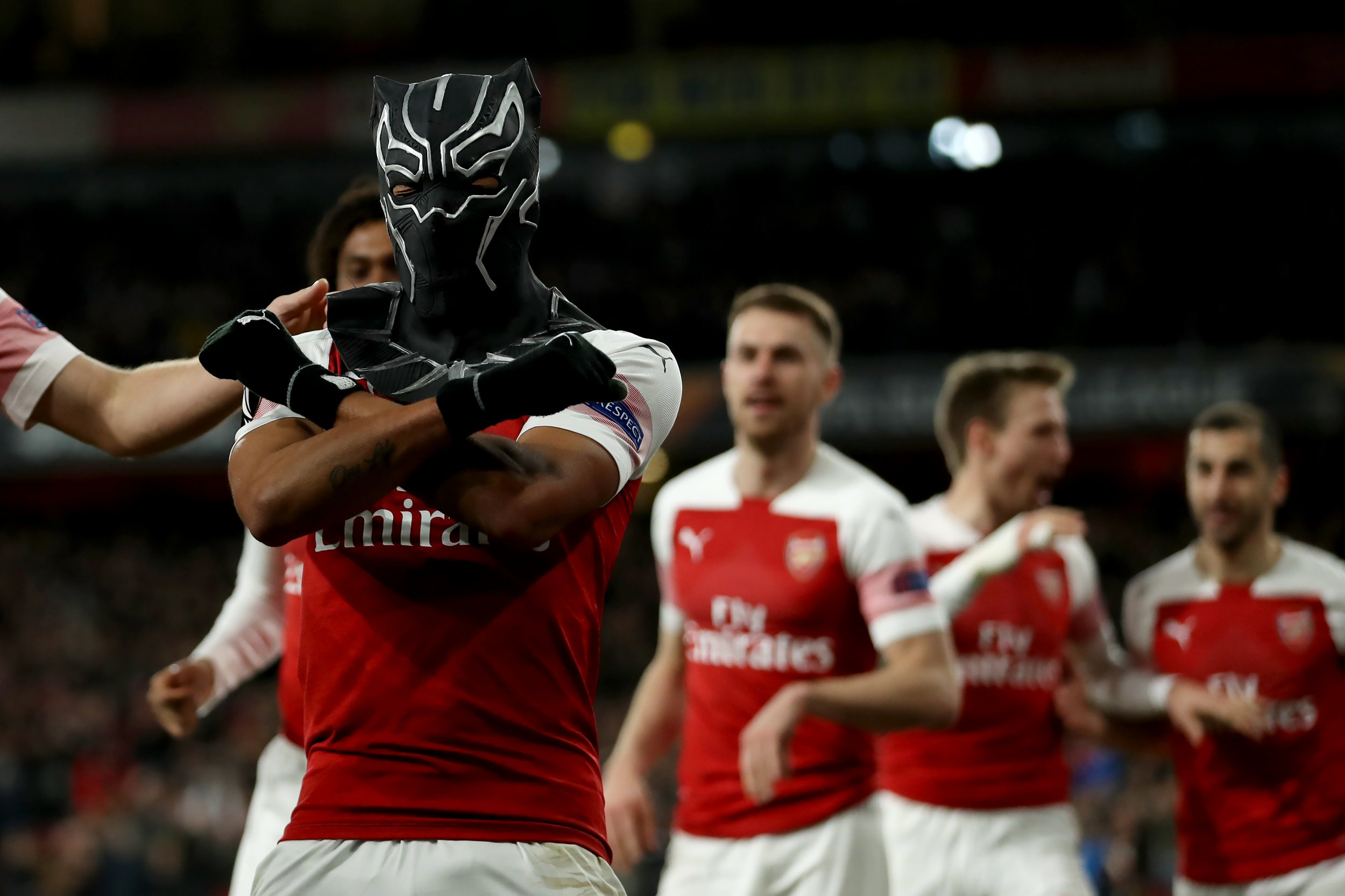 14th March 2019, Emirates Stadium, London, England; UEFA Europa League football, round of 16, second leg, Arsenal versus Rennes; Pierre-Emerick Aubameyang of Arsenal celebrates in a spiderman mask as he scores for 3-0 in the 72nd minute (photo by Shaun Brooks/Action Plus via Getty Images)