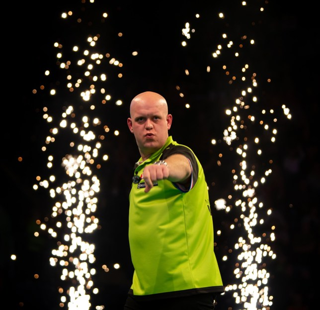 14th March 2019, Motorpoint Arena, Nottingham, England; Unibet Premier League Darts, night 6; Michael van Gerwen celebrates his win (photo by Tim Williams/Action Plus via Getty Images)