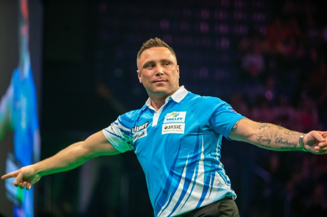 14th March 2019, Motorpoint Arena, Nottingham, England; Unibet Premier League Darts, night 6; Gerwyn Price in his match against Michael van Gerwen (photo by Tim Williams/Action Plus via Getty Images)