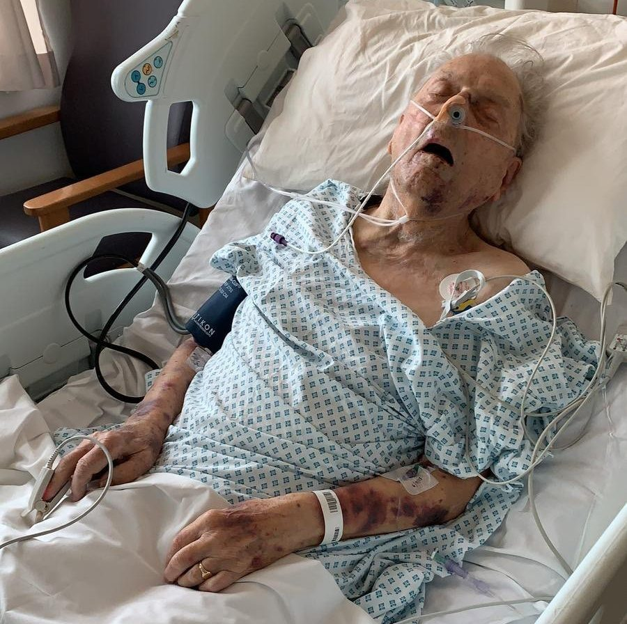 Image of Peter Gouldstone in hospital after the attack - Officers investigating the death of Peter Gouldstone, who died following a violent robbery in his home, have released new CCTV footage as they continue to appeal for information. Police were called to Mr Gouldstone?s home on Evesham Road in Enfield on 6 November 2018 after the 98-year-old was found suffering from a head injury and bruising. He was taken to hospital where he sadly died a few weeks later. Detectives from the Met?s Homicide and Major Crime Command are investigating and are now seeking information on an attempted burglary which took place in a nearby street at 20:25hrs on 5 November 2018, the same evening Mr Gouldstone?s home was broken into. CCTV images show two men entering the back garden of a property where they looked through the windows and attempted to open the doors before leaving the scene. Detective Inspector Alison Cole, said: ?We believe there were at least three men involved in this attempted burglary and we are very keen to speak to them. ?We are appealing for anyone who thinks they may know these individuals to get in touch with any information, no matter how small. ?Mr Gouldstone tragically died following a senseless attack in his own home and we are doing all we can to help his family get the justice they deserve.? Police are also keen to remind people to get in touch should they be offered a 26 inch Panasonic television, model TX ? L26X10B, which was stolen from Mr Gouldstone?s home. The appeal will feature on BBC?s Crimewatch Roadshow on Monday, 18 March and a Crimestoppers reward of ?10,000 remains on offer for anyone who can provide information leading to an arrest and conviction of this offence. Picture: Universal News And Sport (UK) 18/03/2019