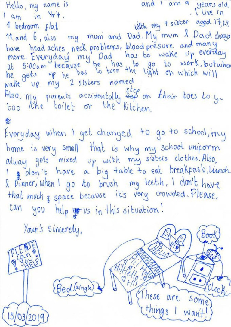 Child writes to MP about sleeping on the floor and having nowhere to revise Picture: Stephen Timms MP