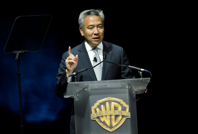 FILE - This April 21, 2015 file photo shows Kevin Tsujihara, chairman and CEO of Warner Bros., during the Warner Bros. presentation at CinemaCon 2015 in Las Vegas. Tsujihara is stepping down after claims that he promised acting roles in exchange for sex. As Warner Bros. chairman and chief executive officer at one of Hollywood???s most powerful and prestigious studios, Tsujihara is one of the highest ranking executives to be felled by sexual misconduct allegations. (Photo by Chris Pizzello/Invision/AP, File)