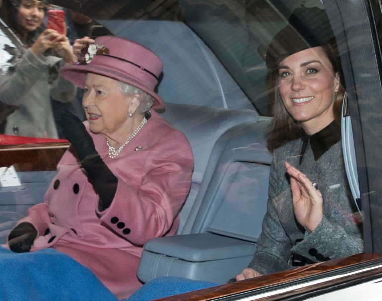 Image licensed to i-Images Picture Agency. 19/03/2019. London, United Kingdom. Queen Elizabeth II and The Duchess of Cambridge arriving for the opening of Bush House at King's College in London. Picture by Stephen Lock / i-Images