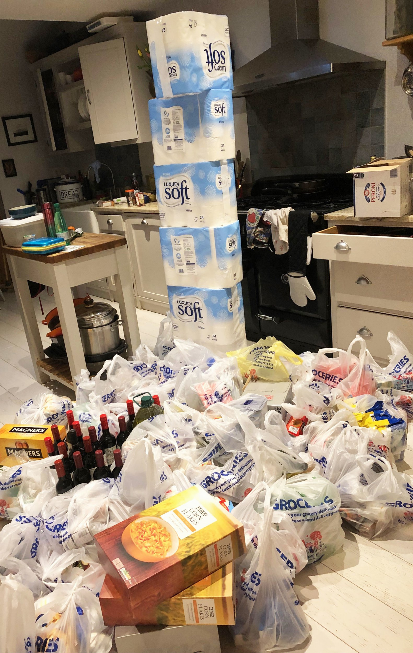 Undated handout photo issued by Juliet East of food stock piled in her kitchen in Worcestershire, she called her husband ???mad??? after he spent more than ??600 on a shop in preparation for a no-deal Brexit. PRESS ASSOCIATION Photo. Issue date: Tuesday March 19, 2019. See PA story POLITICS Stockpile. Photo credit should read: Juliet East/PA Wire NOTE TO EDITORS: This handout photo may only be used in for editorial reporting purposes for the contemporaneous illustration of events, things or the people in the image or facts mentioned in the caption. Reuse of the picture may require further permission from the copyright holder.