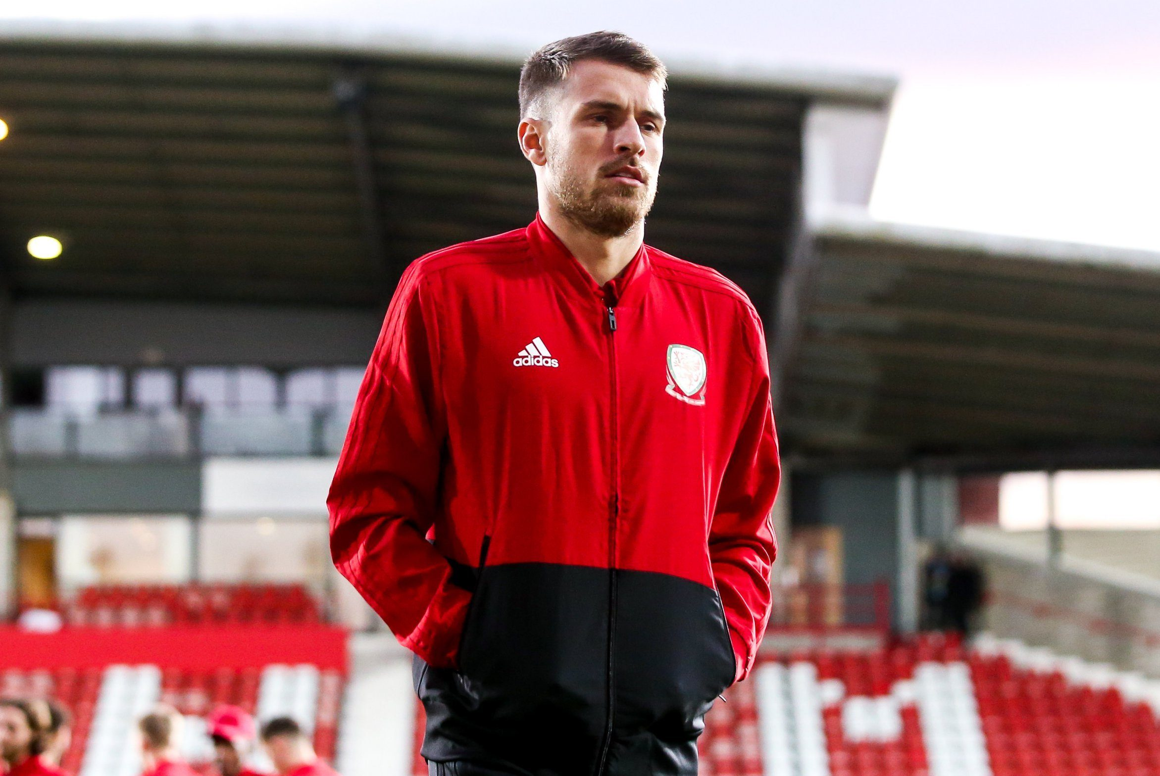 **IMAGE OUTSIDE OF SUBSCRIPTION DEAL, FEES APPLY** Editorial use only Mandatory Credit: Photo by Robbie Stephenson/JMP/REX (10161388q) Aaron Ramsey of Wales Wales v Trinidad and Tobago, UK - 20 Mar 2019