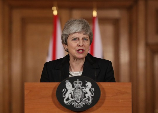 Prime Minister Theresa May making a statement about Brexit in Downing Street, London. PRESS ASSOCIATION Photo. Picture date: Wednesday March 20, 2019. See PA story POLITICS Brexit. Photo credit should read: Jonathan Brady/PA Wire