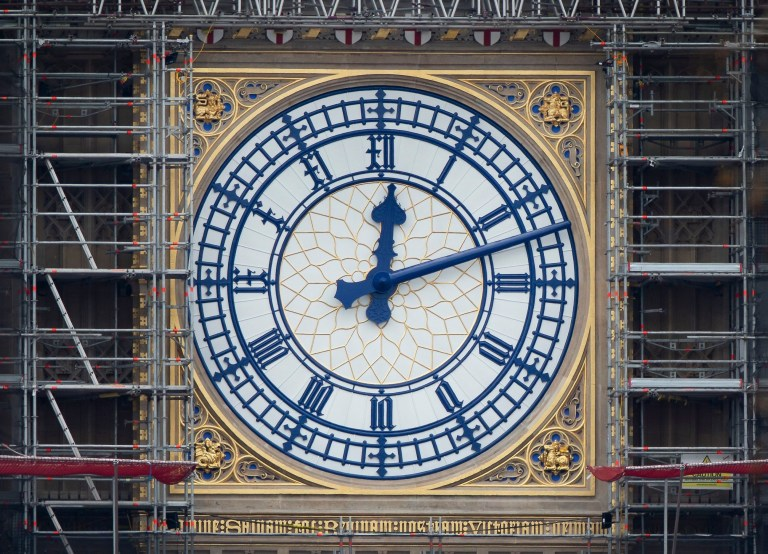 Mandatory Credit: Photo by Peter MacDiarmid/REX/Shutterstock (10161129h) The Elizabeth Tower clock face is revealed in its new Prussian Blue colour replacing the familiar black paint. Big Ben renovation, London, UK - 20 Mar 2019 Big Ben's north face is the first of the four famous clock faces to be seen in the original colour scheme from when it was built in 1859 by Sir Charles Barry. These works form part of a Parliamentary ?61m restoration project which will also see the St George's shields at top of the clock face painted red and white for the first time since the 1930's.