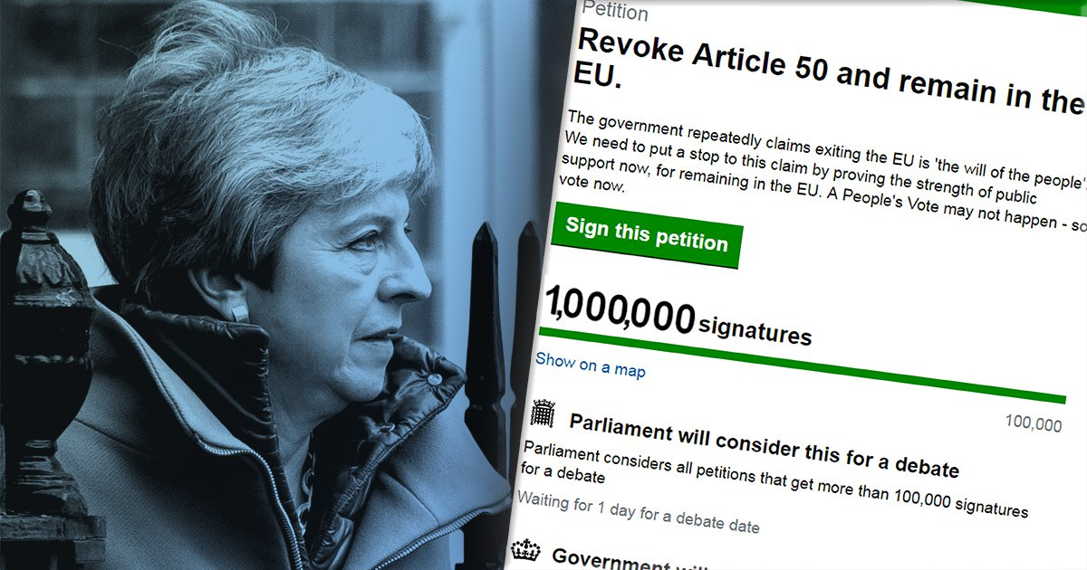 Revoke Article 50 petition to stop Brexit hits 1,000,000 signatures