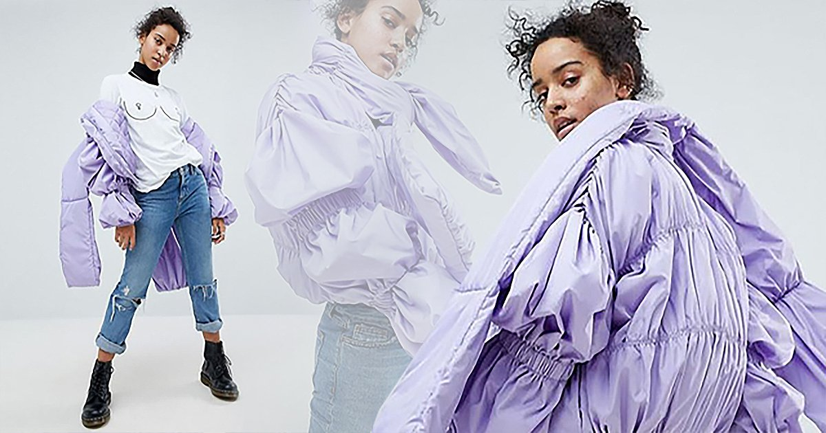 ASOS is being mocked online after releasing very bizarre lilac bomber jacket