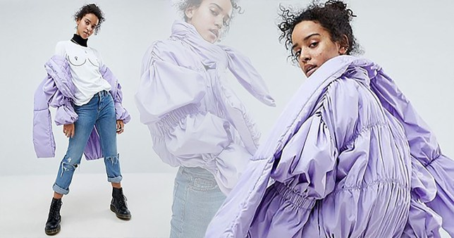 Shoppers ask if ASOS is ?on crack? for selling bizarre lavender puffer jacket with tie neck ASOS