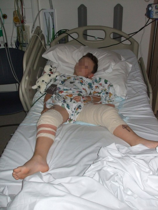 EDITORS NOTE: FACE PIXELATED AT SOURCE Undated handout file photo issued by Greater Manchester Police of seven-year-old Christian Hickey in his hospital bed after he was shot in the leg in a suspected gangland feud. Members of a major Salford organised crime gang, known as the A-Team, have been convicted at Manchester Crown Court for their involvement in the shooting of Sean and his mother Jayne in October 2015. PRESS ASSOCIATION Photo. Issue date: Thursday March 21, 2019. See PA story COURTS Boy. Photo credit should read: GMP/PA Wire NOTE TO EDITORS: This handout photo may only be used in for editorial reporting purposes for the contemporaneous illustration of events, things or the people in the image or facts mentioned in the caption. Reuse of the picture may require further permission from the copyright holder.
