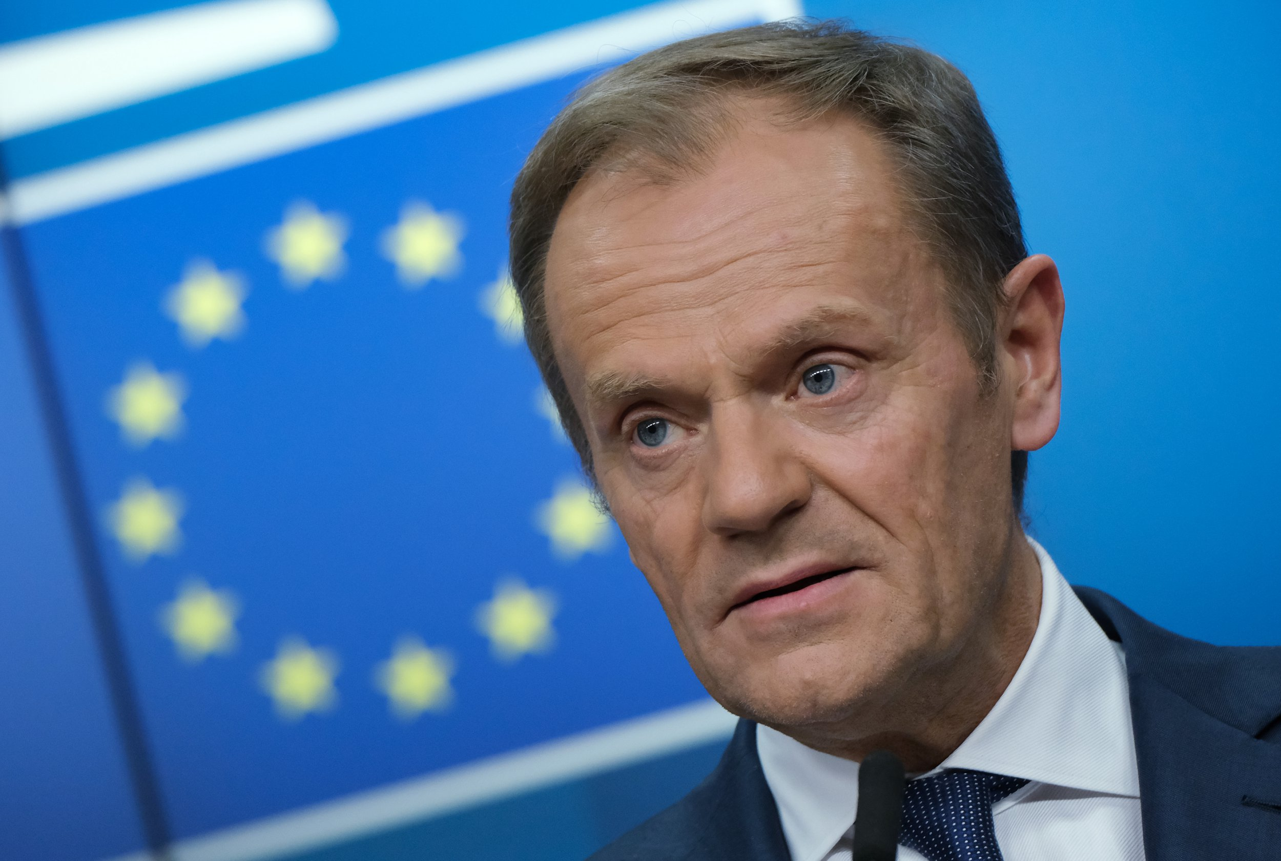 BRUSSELS, BELGIUM - MARCH 21: European Council President Donald Tusk speaks to the media at the end of the first of a two-day summit of European Union leaders on March 21, 2019 in Brussels, Belgium. Leaders discussed British Prime Minister Theresa May's request for an extension of the deadline for the United Kingdom's departure from the EU, or Brexit. (Photo by Sean Gallup/Getty Images)