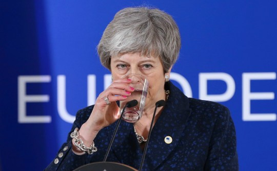 BRUSSELS, BELGIUM - MARCH 22 : British Prime Minister Theresa May drinks water during a press conference on March 22, 2019, at the end of the first day of an EU summit focused on Brexit, in Brussels, Belgium. (Photo by Dursun Aydemir/Anadolu Agency/Getty Images)