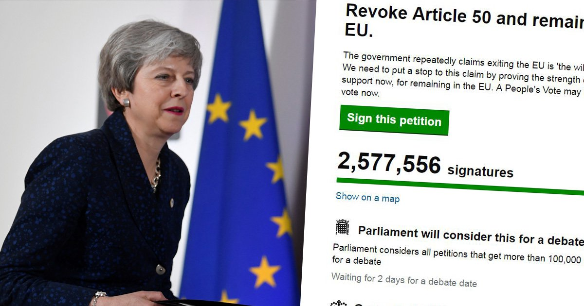 Revoke Article 50 petition to stop Brexit smashes past 2,500,000