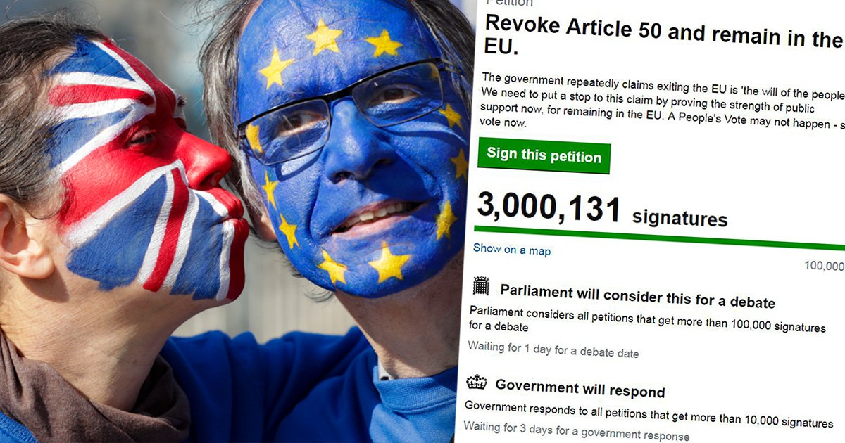 Stop Brexit petition hits 3,000,000 signatures
