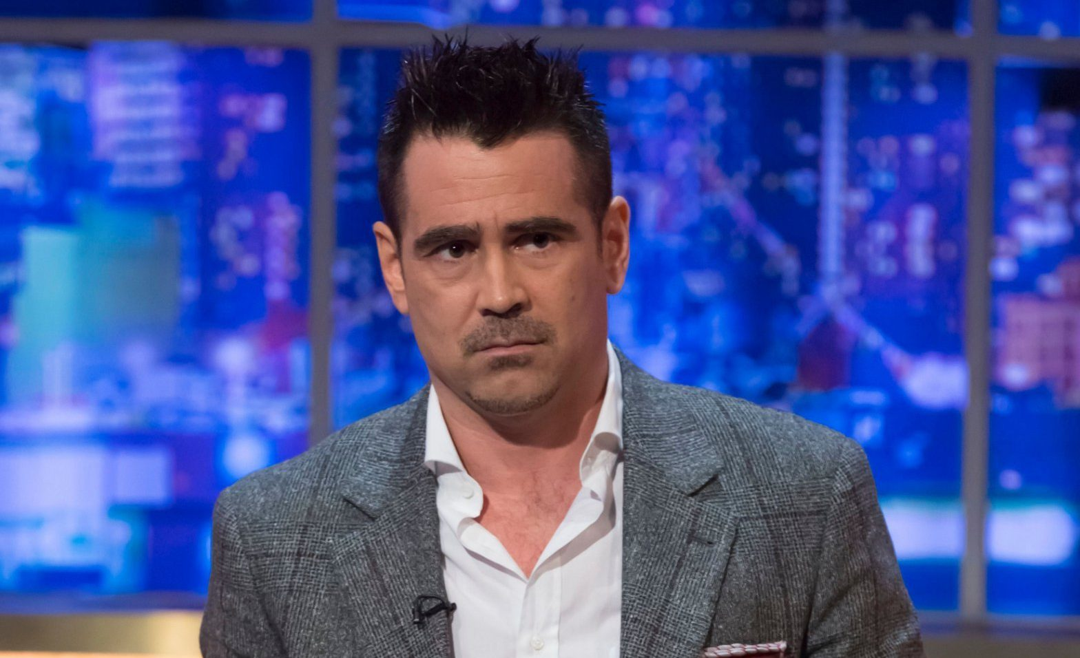 Mandatory Credit: Brian J Ritchie/Hotsauce Editorial Use Only Mandatory Credit: Photo by Brian J Ritchie/Hotsauce/REX (10163640aa) Colin Farrell 'The Jonathan Ross Show' TV show, Series 14, Episode 4, London, UK - 23 Mar 2019