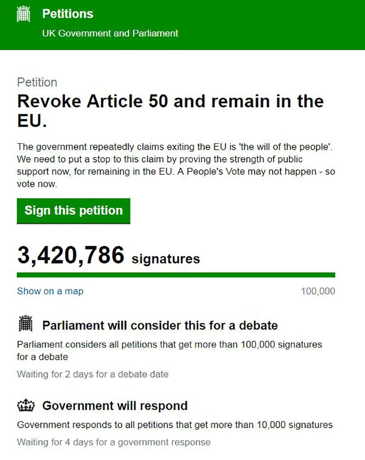 Cancel Brexit petition 'needs 20 million signatures to mean anything' Provider: UK Government and Parliament Source: https://petition.parliament.uk/petitions/241584