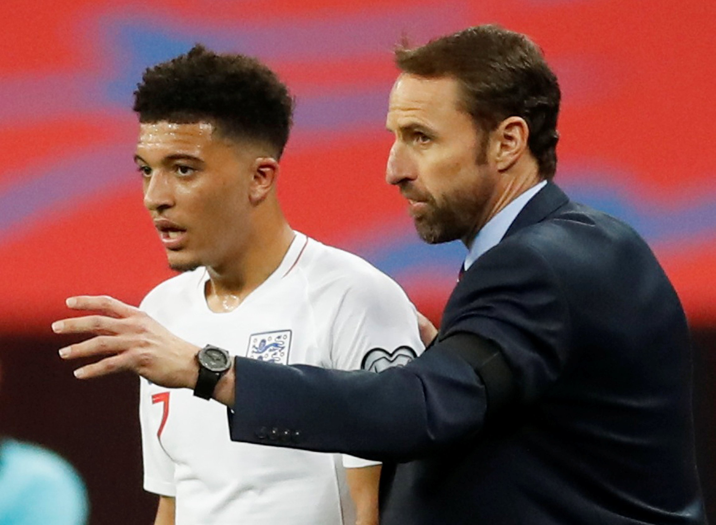 Soccer Football - Euro 2020 Qualifier - Group A - England v Czech Republic - Wembley Stadium, London, Britain - March 22, 2019 England's Jadon Sancho with manager Gareth Southgate Action Images via Reuters/Carl Recine