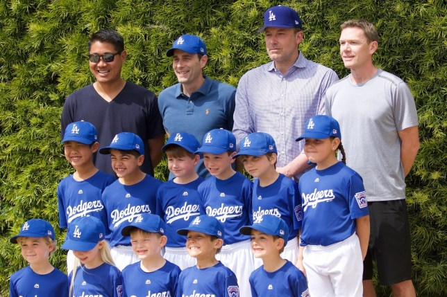 Los Angeles, - Ben Affleck takes pics with his son's baseball team after going to lunch. The actor looks happy wearing a matching blue Dodgers Cap. He seems to listen to Violet speak about an issue and consoles her. Afterwards Ben and his clan walk back to the car. Pictured: Ben Affleck, Samuel Garner Affleck BACKGRID USA 23 MARCH 2019 BYLINE MUST READ: GAL / BACKGRID USA: +1 310 798 9111 / usasales@backgrid.com UK: +44 208 344 2007 / uksales@backgrid.com *UK Clients - Pictures Containing Children Please Pixelate Face Prior To Publication*