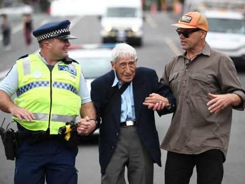 Pensioner, 95, catches four buses to join march against racism in New Zealand