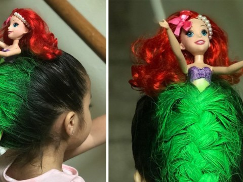 Mum designs amazing Little Mermaid hair for daughter's school crazy hair day