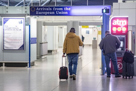 EU, UK, Borders and European Union signs in London Stansted STN airport in England, UK (Photo by Nicolas Economou/NurPhoto via Getty Images)