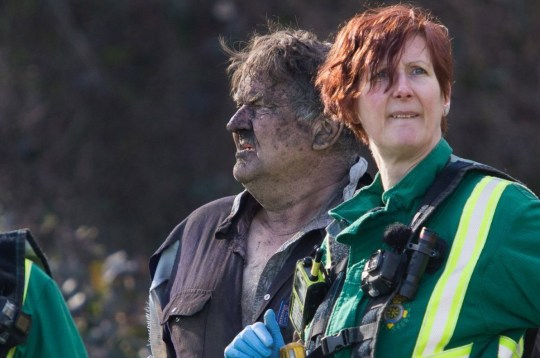 Monday 25th March 2019 Picture Credit Kurt Fairhurst Picture Shows A 62 year old man has been rescued from a hole he dug in Elsecar,Barnsley, South Yorkshire looking for Bottles he had to be rescued in a large scale rescue which included all emergency services Fire, Police Ambulance, HEART, Yorkshire Air Ambulance