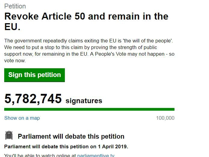 Revoke Article 50 petition: Government rejects plea by 5.8 million people to cancel Brexit https://petition.parliament.uk/petitions/241584