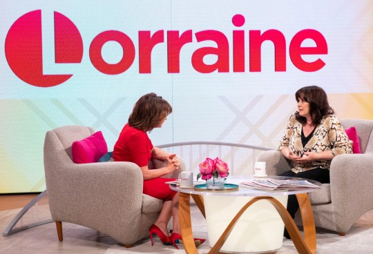 Editorial use only Mandatory Credit: Photo by Ken McKay/ITV/REX (10169559a) Lorraine Kelly and Coleen Nolan 'Lorraine' TV show, London, UK - 27 Mar 2019
