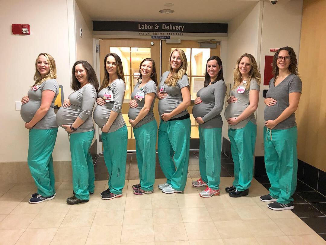 Nine nurses who work on the same ward are pregnant at the same time