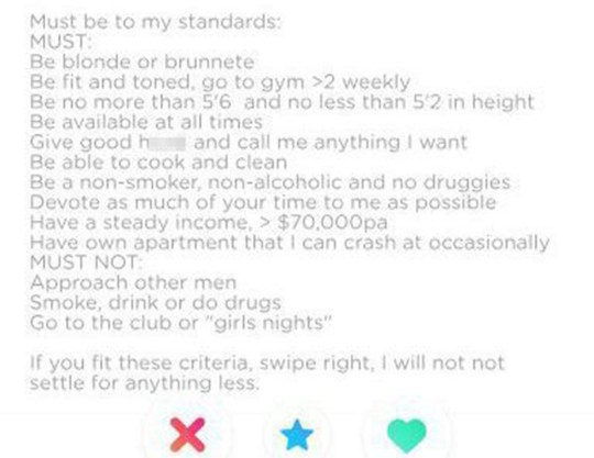 Man creates ridiculous list of demands on Tinder – and it's