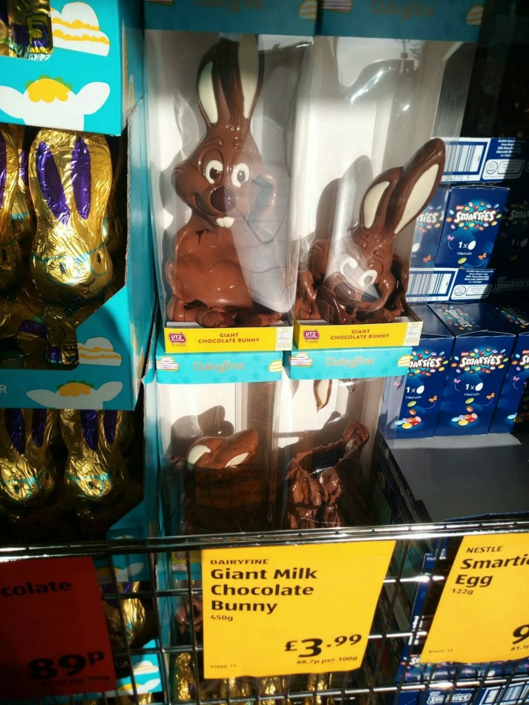 """The ?3.99 chocolate Easter bunnies spotted by local magician Huxley Magic at an Aldi in Cowes, Isle of Wight - that were MELTED! .See SWNS story SWBRbunny.These hilarious photos show a selection of chocolate MELTED Easter bunnies on sale.The ?3.99 bunnies are on sale by the entrance to Aldi in Cowes, Isle of Wight.They were snapped by Huxley Magic, who describes himself as an award-winning musician living on the island.He posted on Facebook: """"Hope you are all feeling smiley in the sun. Not like the horror show that's going on in Aldi's doorway!"""