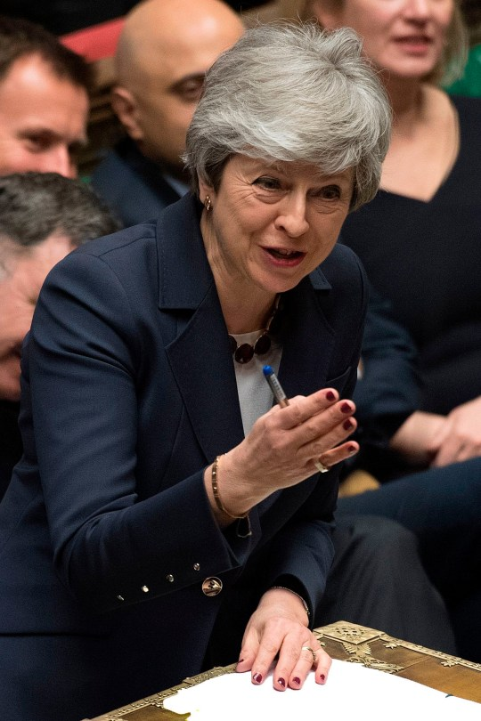 "A handout photograph taken and released by the UK Parliament on March 27, 2019 shows Britain's Prime Minister Theresa May speaking during the weekly Prime Minister's Questions (PMQs) question and answer session in the House of Commons in London. - Prime Minister Theresa May on Wednesday pledged to step down if MPs back her EU divorce deal, in a bid to break the Brexit deadlock in Britain's fractured parliament. Her dramatic gambit came just two hours before MPs started a flurry of votes seeking a last-minute alternative Brexit plan to replace her deal. (Photo by JESSICA TAYLOR / UK PARLIAMENT / AFP) / EDITORS NOTE THE IMAGE HAS BEEN DIGITALLY ALTERED AT SOURCE TO OBSCURE VISIBLE DOCUMENTS - RESTRICTED TO EDITORIAL USE - NO USE FOR ENTERTAINMENT, SATIRICAL, ADVERTISING PURPOSES - MANDATORY CREDIT "" AFP PHOTO /JESSICA TAYLOR/ UK Parliament""JESSICA TAYLOR/AFP/Getty Images"