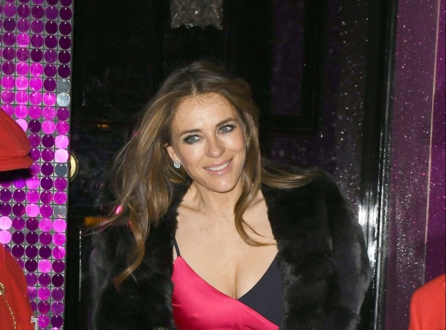 BGUK_1529957 - London, UNITED KINGDOM - Elizabeth Hurley was all smiles with her x partner seen leaving Annabel's in London. Pictured: Elizabeth Hurley - Liz Hurley BACKGRID UK 27 MARCH 2019 BYLINE MUST READ: TONY CLARK / BACKGRID UK: +44 208 344 2007 / uksales@backgrid.com USA: +1 310 798 9111 / usasales@backgrid.com *UK Clients - Pictures Containing Children Please Pixelate Face Prior To Publication*