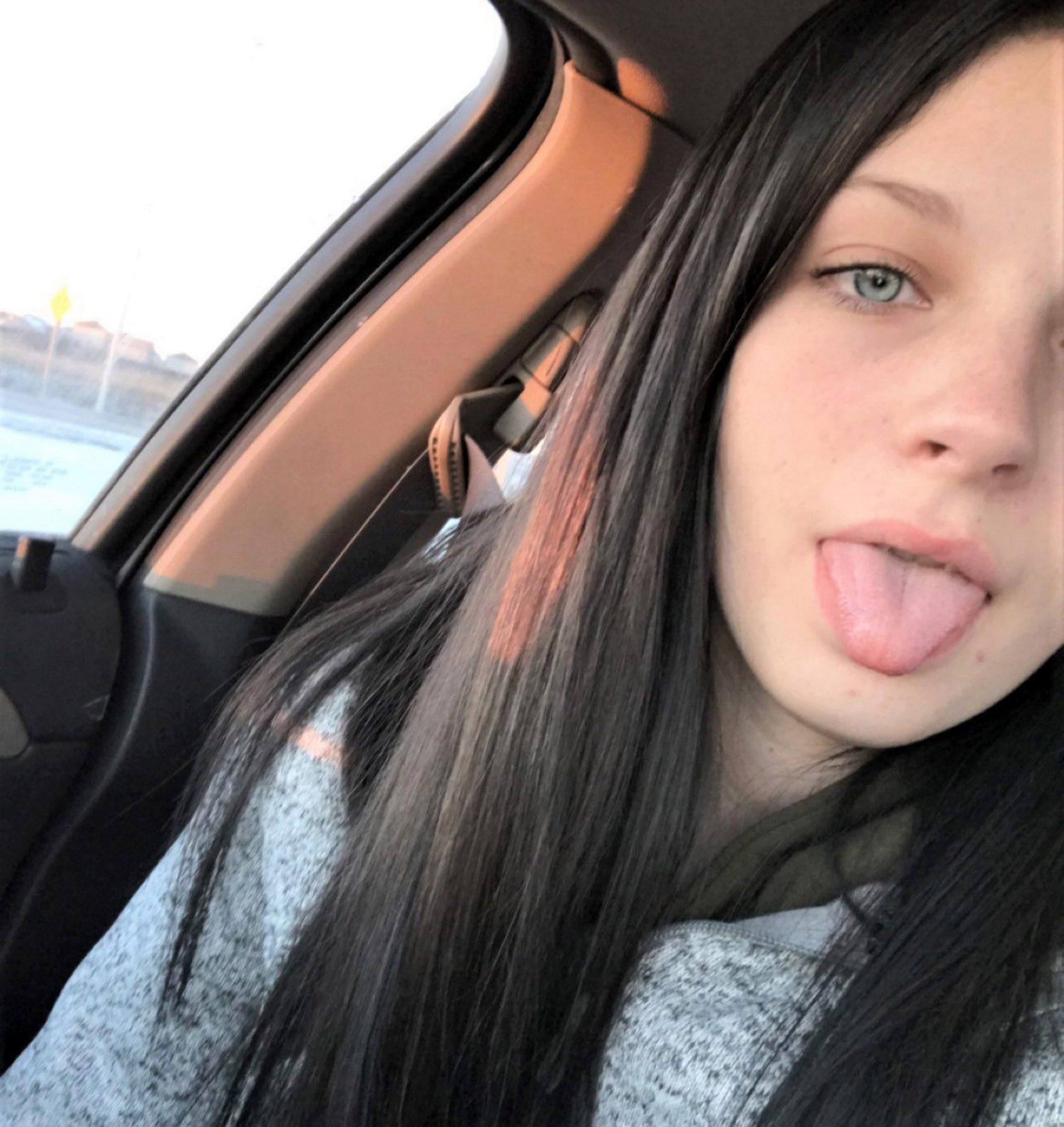 Josie Laro, 19, from Grand Forks, North Dakota, USA, before she bleached her hair