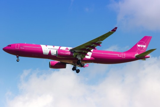 Paris, France - August 17, 2018: WOW Air Airbus A330 airplane at Paris Charles de Gaulles airport (CDG) in France. | usage worldwide