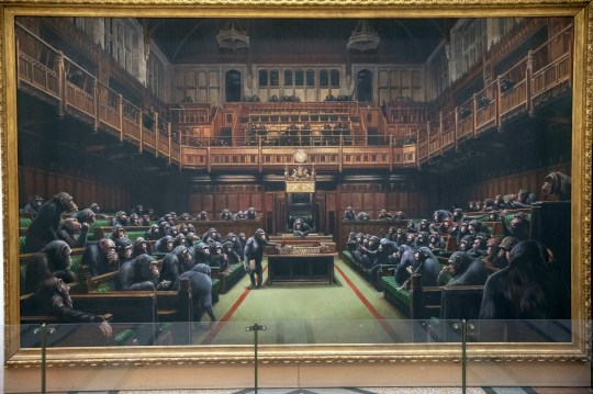 "The painting 'Devolved Parliament' by the graffiti artist Banksy, which is going on show at Bristol Museum. PRESS ASSOCIATION Photo. Picture date: Thursday March 28, 2019. Banksy's spokeswoman has described the piece as ""massively relevant"" given the current situation in Parliament. She added: ""It is not a comment on Brexit by Banksy by any means but it is a timely unveiling of the museum having it on show"". See PA story ARTS Banksy. Photo credit should read: Steve Parsons/PA Wire"