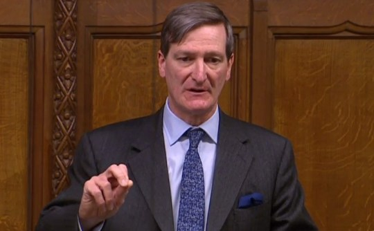 "A video grab from footage broadcast by the UK Parliament's Parliamentary Recording Unit (PRU) shows Conservative MP Dominic Grieve speaking in the House of Commons in London on March 29, 2019, during a debate the Government's Withdrawal Agreement ahead of a vote on it today. - MPs are set for a momentous third vote Friday on Prime Minister Theresa May's Brexit divorce deal, which could end a months-long crisis or risk Britain crashing out of the EU in two weeks. The House of Commons has twice rejected May's withdrawal agreement, both times by large margins, but has been unable to agree any alternative -- and time is running out. (Photo by - / PRU / AFP) / RESTRICTED TO EDITORIAL USE - MANDATORY CREDIT "" AFP PHOTO / PRU "" - NO USE FOR ENTERTAINMENT, SATIRICAL, MARKETING OR ADVERTISING CAMPAIGNS - EDITORS NOTE THE IMAGE HAS BEEN DIGITALLY ALTERED AT SOURCE TO OBSCURE VISIBLE DOCUMENTS-/AFP/Getty Images"
