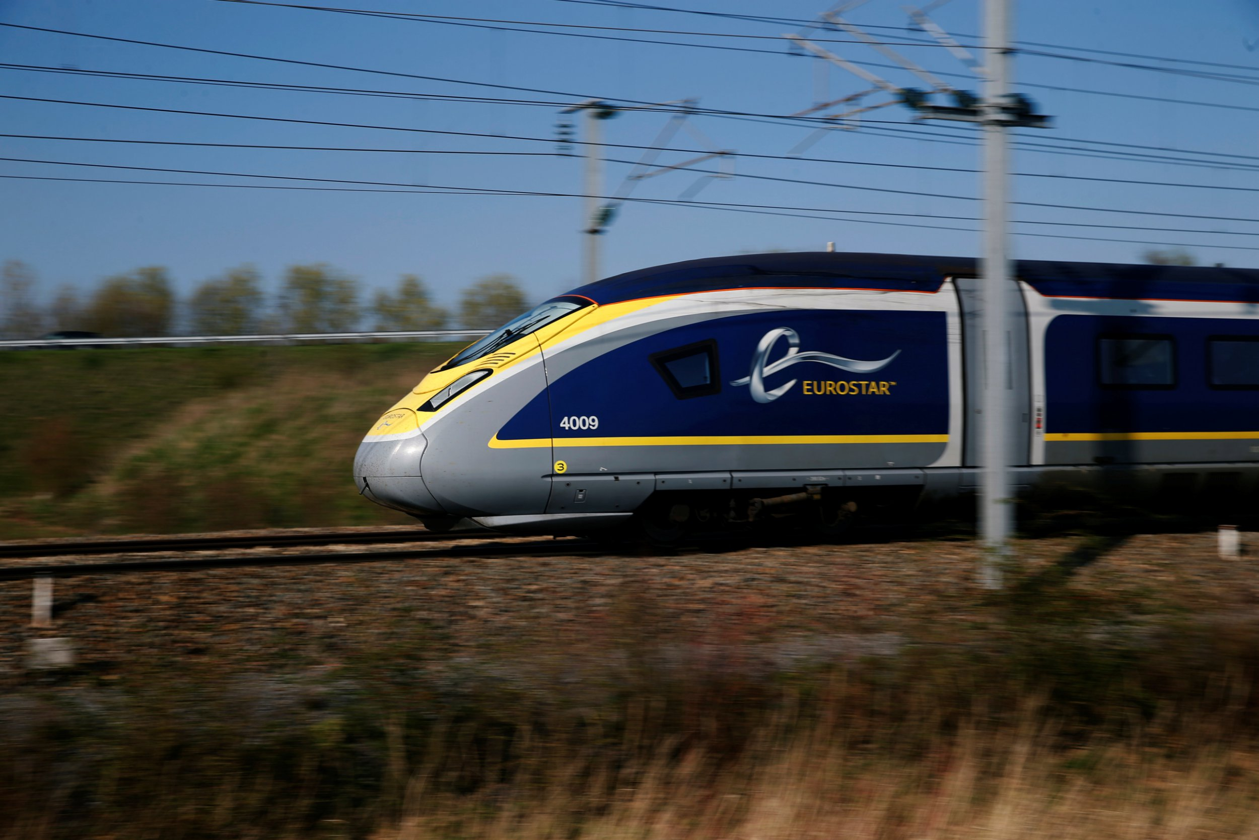 An Eurostar high-speed train speeds on the LGV Nord railtrack outside Seclin, France, March 29, 2019. REUTERS/Pascal Rossignol