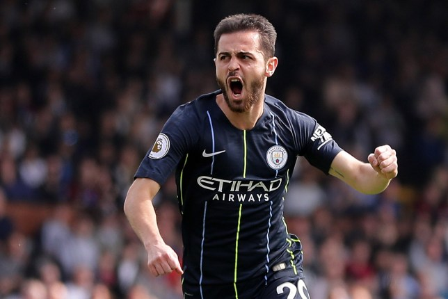 LONDON, ENGLAND - MARCH 30: Bernardo Silva of Manchester City celebrates after scoring his team's first goal during the Premier League match between Fulham FC and Manchester City at Craven Cottage on March 30, 2019 in London, United Kingdom. (Photo by Richard Heathcote/Getty Images)