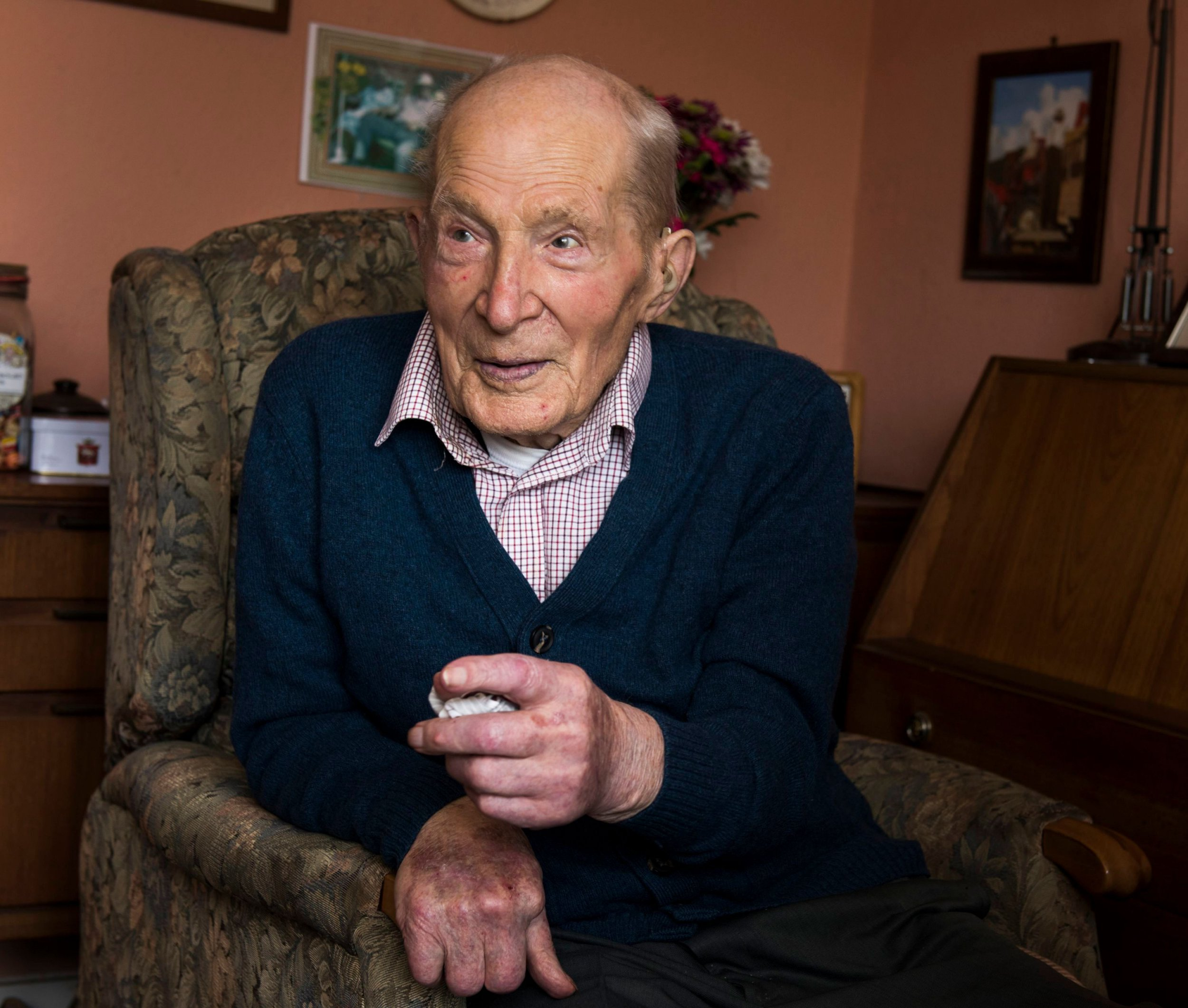 """Mandatory Credit: Photo by REX/Shutterstock (10181544c) Alf Smith Man celebrates his 109th birthday, Scotland - 10 May 2017 Alf Smith was born on 29 March 1908 in Invergowrie, in Perth and Kinross, and later farmed at Kinfauns where he raised two children. Asked for the secret of a long and happy life in a previous interview he said: """"Porridge is helpful and having a job you enjoy."""""""