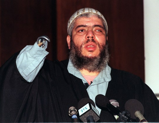 Sheikh Abu Hamza al Misary, head of religious & political affairs for the Supporters of Sharia, at a London news conference in London where he called for the release of innocent detainees in Yemen. His stepson is one of 5 Britons being held in Yemen on terrorism charges. * Reissued 15/3/99 - Hamza was arrested under the Prevention of Terrorism Act in an early morning police raid. 17/01/03 Abu Hamza who vowed to persist making political speeches at a British mosque, despite facing expulsion from the mosque for his extremist Islamic views. The Charities Commission has told Hamza, 45, that it will exclude him as an agent of the North London Central Mosque Trust for his inflammatory and highly political speeches at prayer meetings.