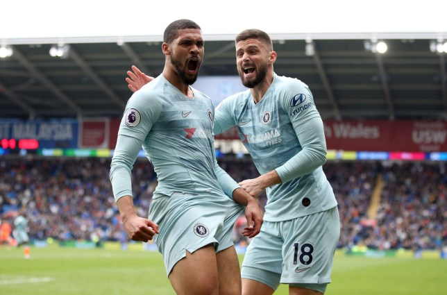 "Chelsea's Ruben Loftus-Cheek (left) celebrates scoring his side's second goal of the game during the Premier League match at the Cardiff City Stadium, Cardiff. PRESS ASSOCIATION Photo. Picture date: Sunday March 31, 2019. See PA story SOCCER Cardiff. Photo credit should read: Nick Potts/PA Wire. RESTRICTIONS: EDITORIAL USE ONLY No use with unauthorised audio, video, data, fixture lists, club/league logos or ""live"" services. Online in-match use limited to 120 images, no video emulation. No use in betting, games or single club/league/player publications."