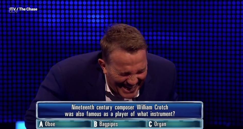 Bradley Walsh in bits over filthy question on The Chase – contestant isn't impressed