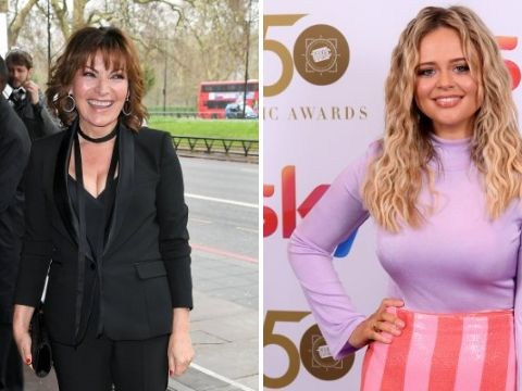 Emily Atack and Lorraine Kelly beam in their red carpet finery at star-studded TRIC Awards