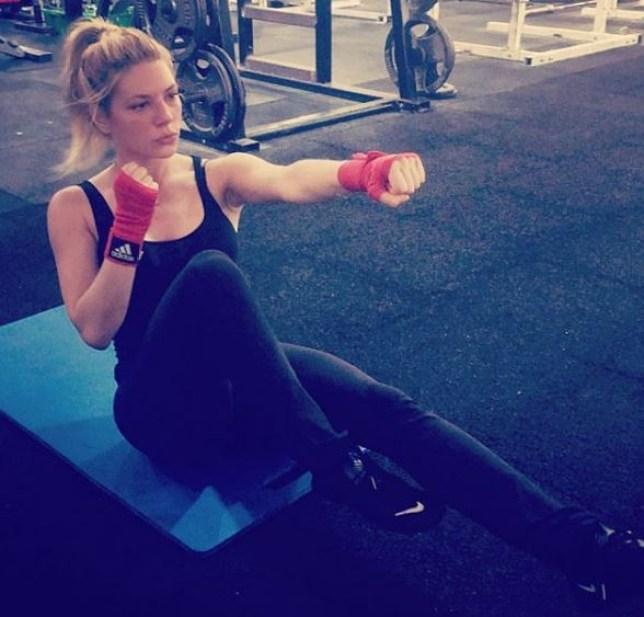 Katheryn Winnick training in the gym