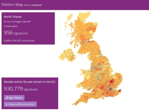 Map shows where most people are signing Revoke Article 50 petition